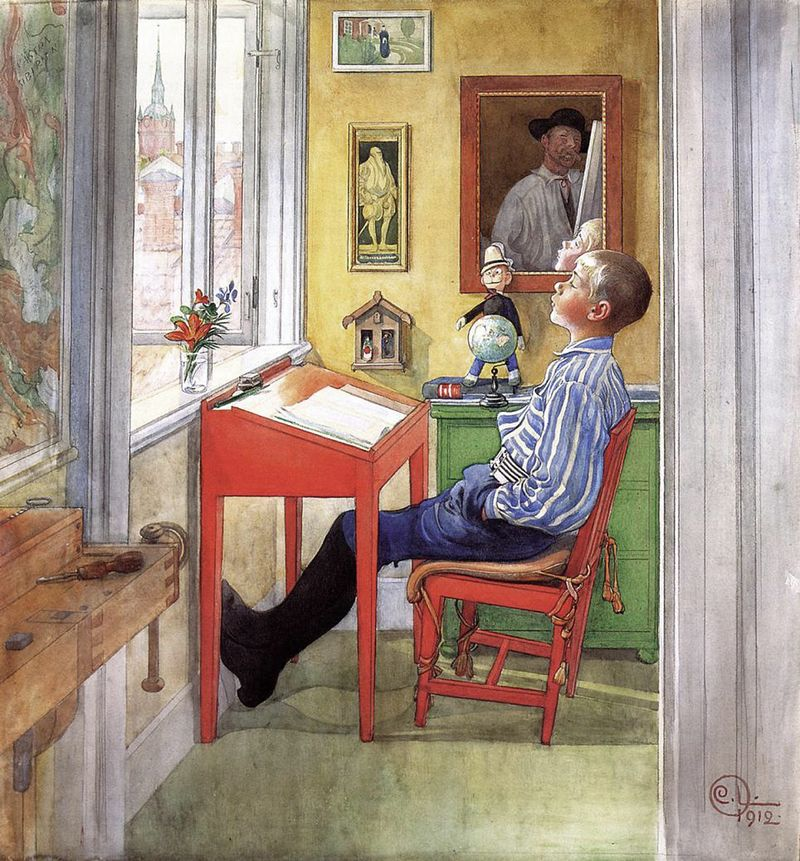 At the desk by Carl Larsson