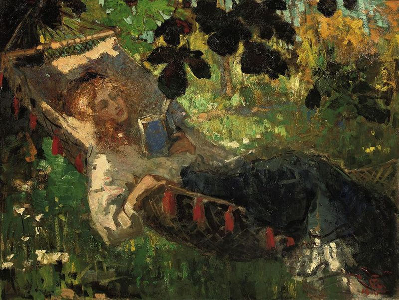 Girl Reading in a Hammock by Robert Archibald Graafland
