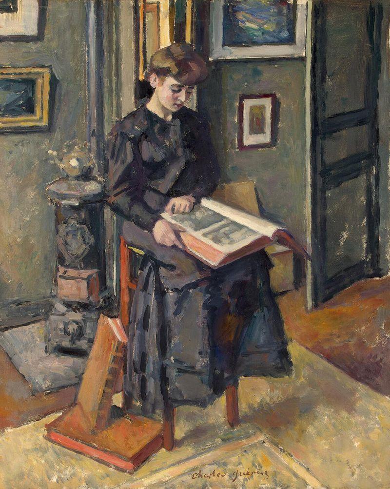 Reading by Charles Francois Prosper Guérin