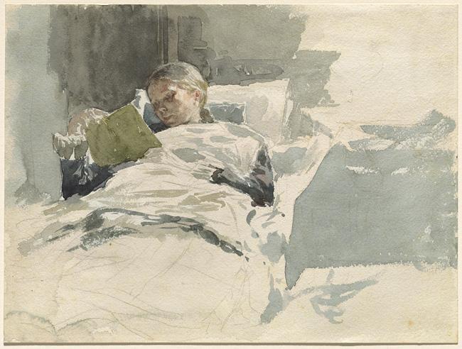 The Artist's Wife Reading by Leopold von Kalckreuth