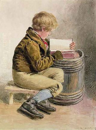 Little Boy Reading a Book by William Henry Hunt
