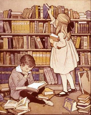 The Library by Jessie Willcox Smith