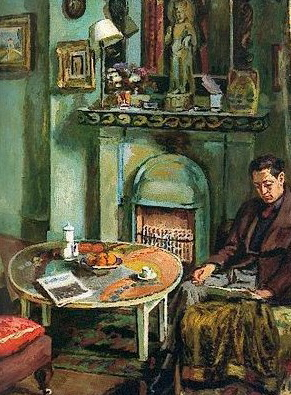 Interior with Duncan Grant Reading by Vanessa Bell