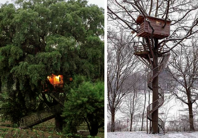Two French tree houses