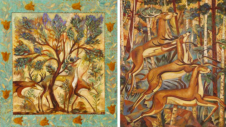 Deer Amonst the Trees and Forest Deer Trio by Tony Abeyta