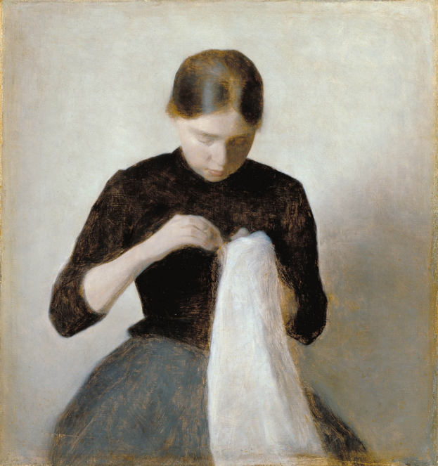 Woman Sewing by  Vilhelm Hammershøi