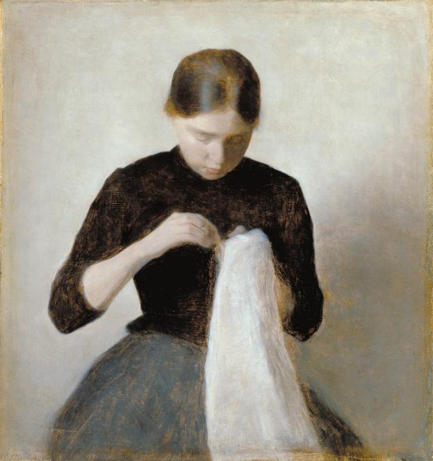 Woman Sewing by  Vilhelm Hammershøi