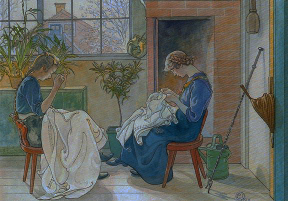 Girls Sewing at the Window by Carl Larsson