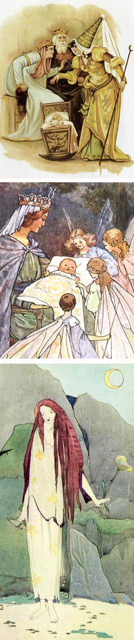Illustrations by an unknown artist, Margaret Tarrant and Jessie M. King