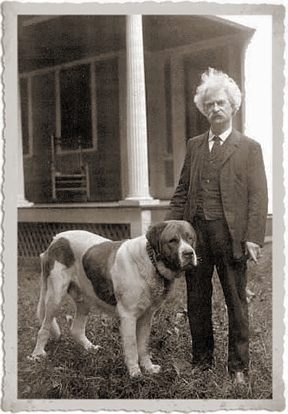 Mark Twain and his dog