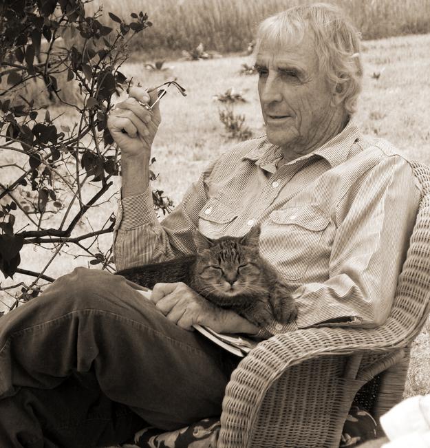 Peter Matthiesen and his cat