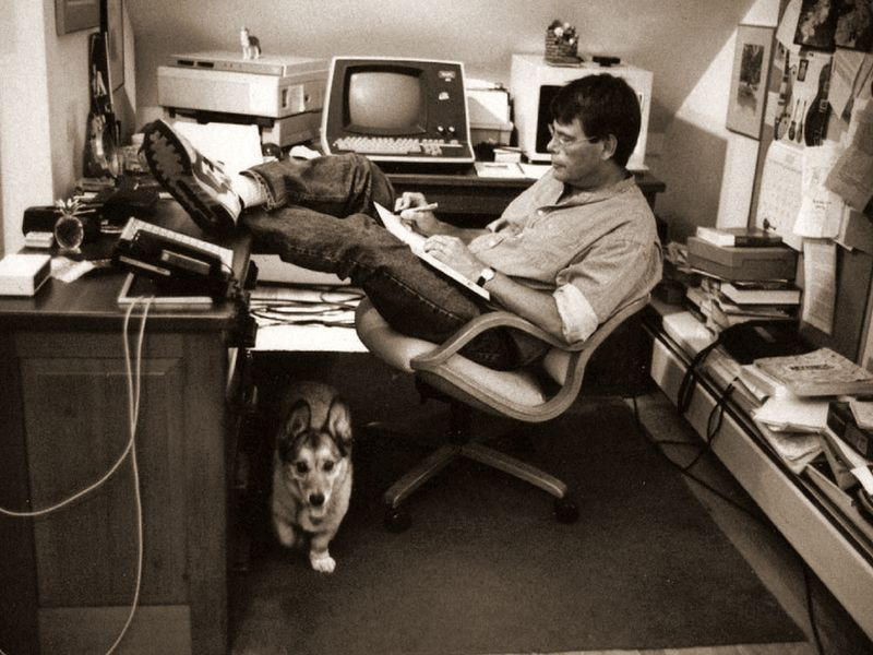 Stephen King and his dog Marlowe (photograph by Jill Krementz)