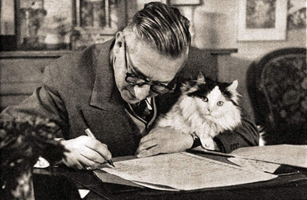 Jean Paul Sartre and his cat