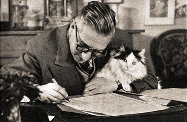 Jean Paul Sartre and his cat