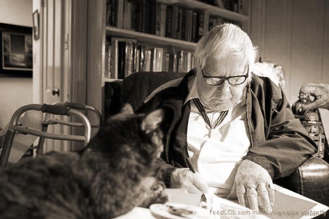 Ray Bradbury and his cat