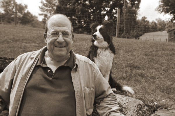 John Katz and one of the dogs of Bedlam Farm