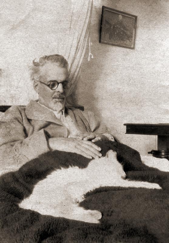William Butler Yeats and his cat
