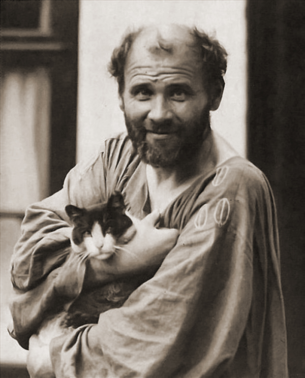 Gustav Klimt with his cat Katze