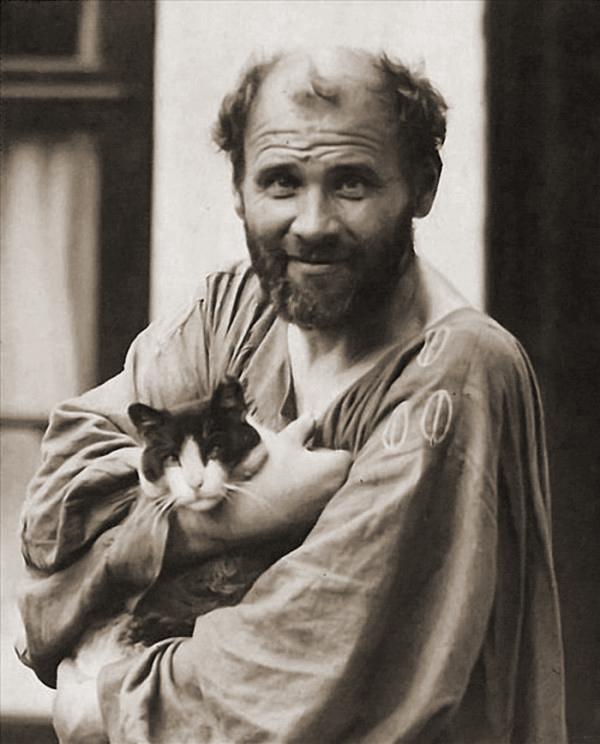 Gustav Klimt with his cat Katze