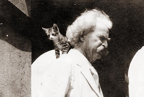 Mark Twain with kitten