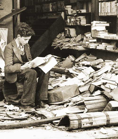 Library destroyed by bombing, London 1940