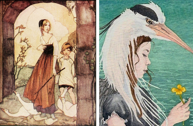 The Goose Girl by Rie Cramer & The Heron Girl by Danielle Barlowe