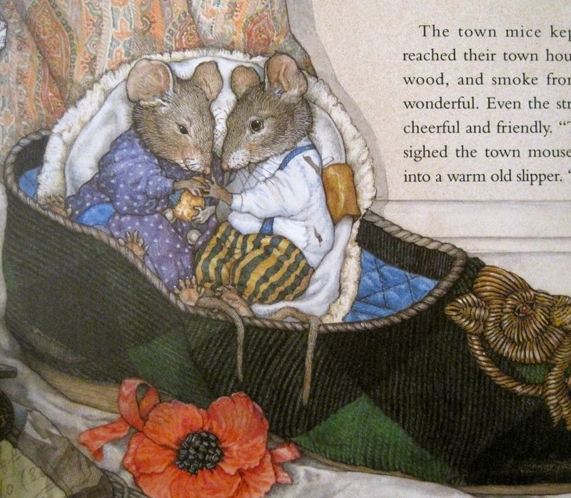 A page detail from Town Mouse, Country Mouse by Jan Brett
