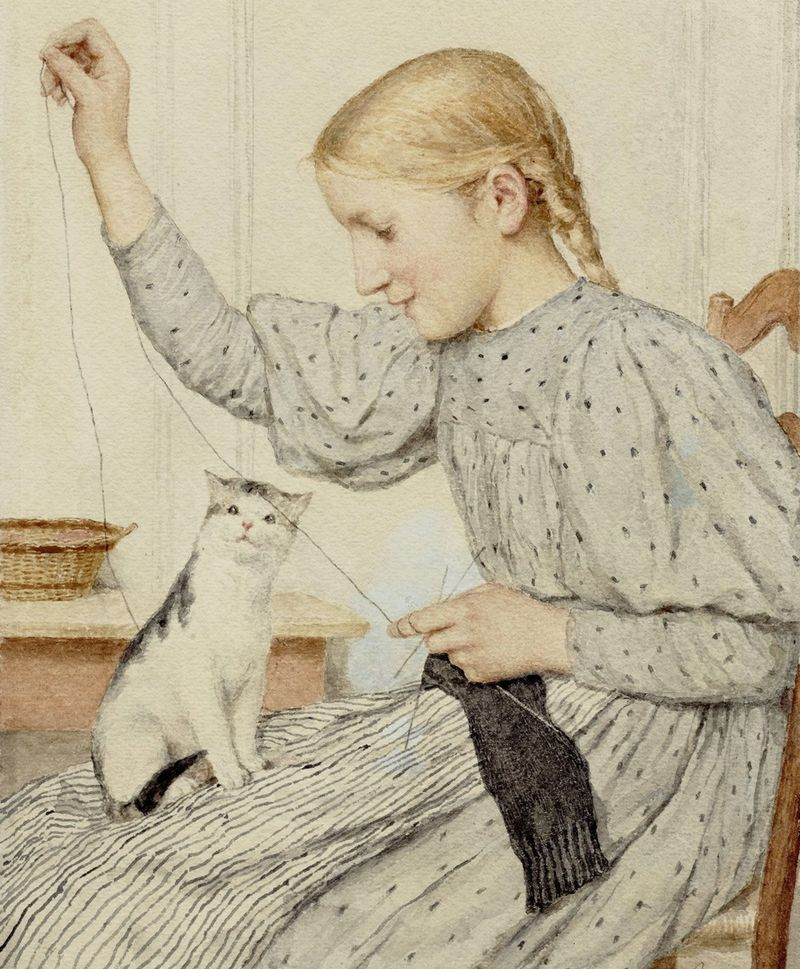 Knitting Girl and Cat by Albert Anker