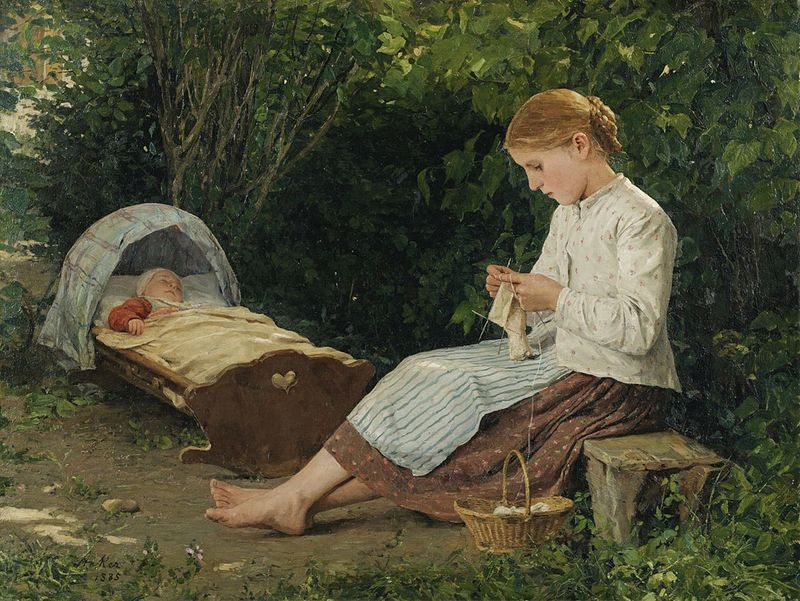 Knitting Girl and Toddler by Albert Anker