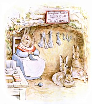Josephine Rabbit Knitting by Beatrix Potter