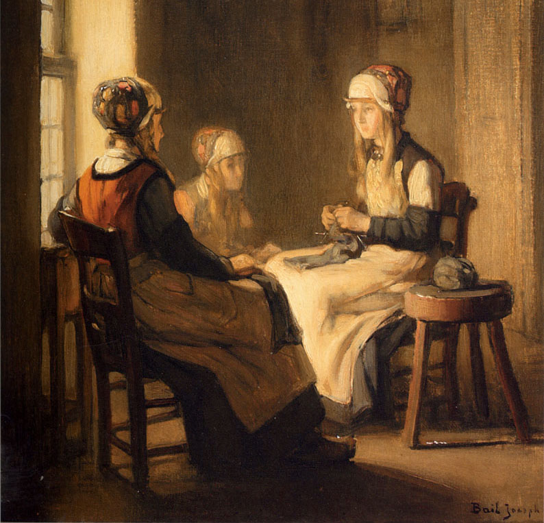 Interior With Girls Knitting by Joseph A. Bail