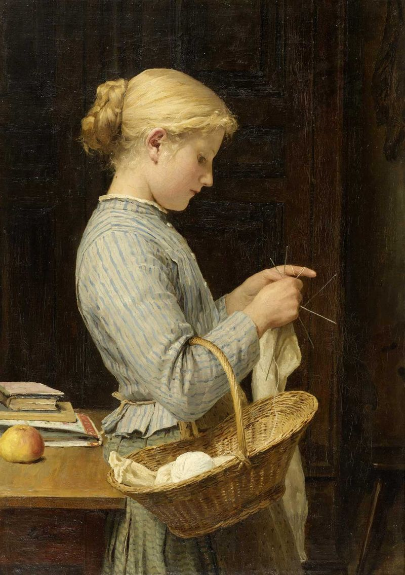 Girl Knitting by Albert Anker