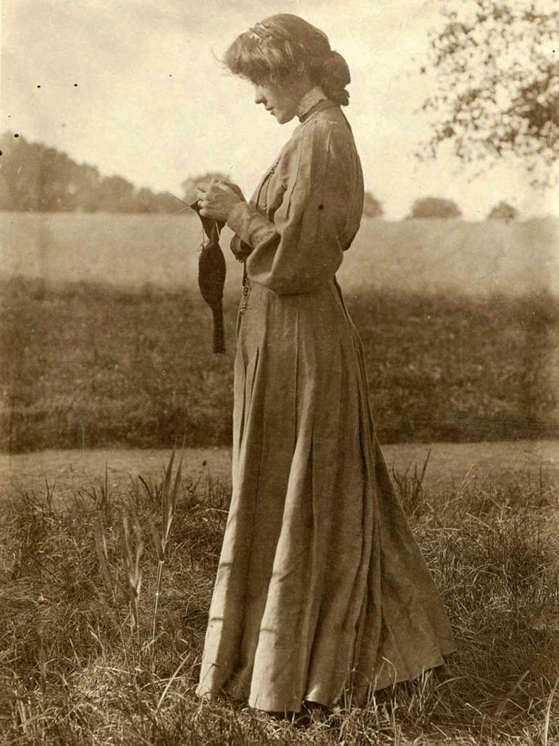 Woman Knitting Sock Outdoors by Gertrude Käsebier