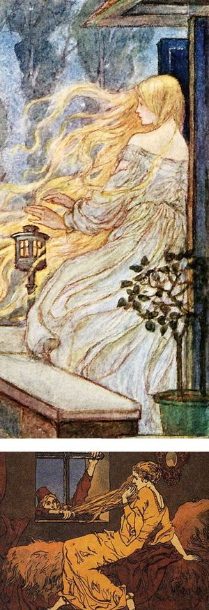 Rapunzel illustrations by Florence Harrison and Ernst Liebermann