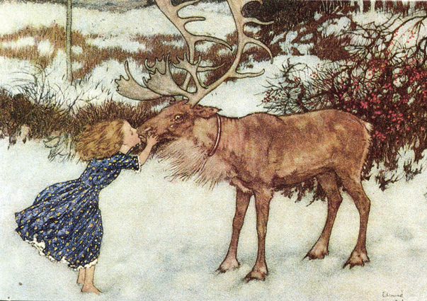 Gerda and the Reindeer by Edmund Dulac