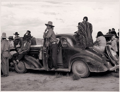 Navajo spectators to a rocket launch near Roswell, New Mexico, 1941, by B. Anthony Stewart
