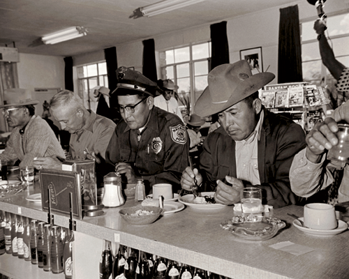 Navajo officials at a diner in Window Rock, Arizona, 1955, 