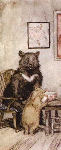 A detail from Arthur Rackham's Goldilocks illustrations