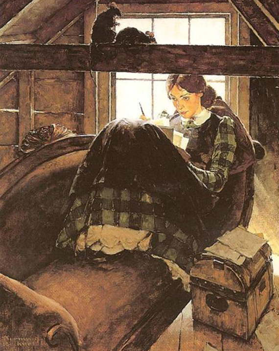 Jo Writing in the Attic by Norman Rockwell