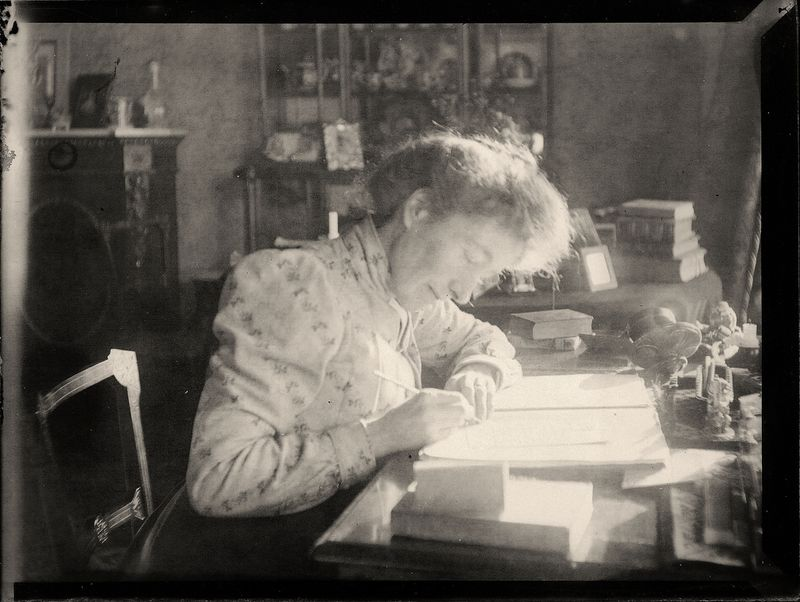 Edwardian woman writing