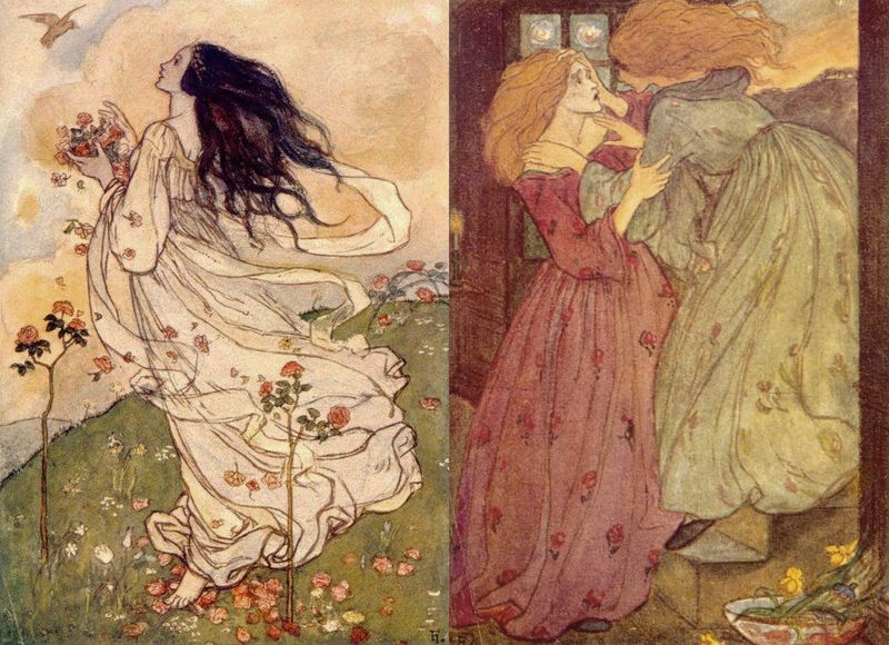 ''A Birthday'' and an illustration for Christina Rosetti's Goblin Market by Florence Harrison