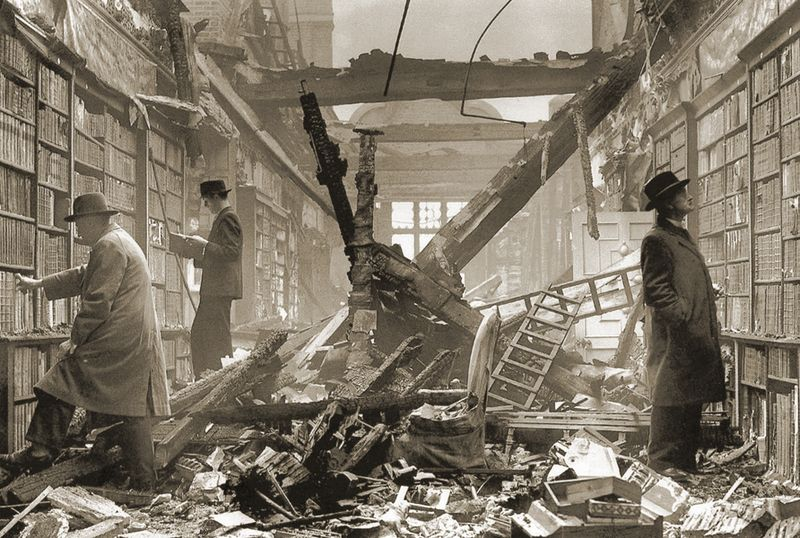 Holland House Library in London during the Blitz, 1940