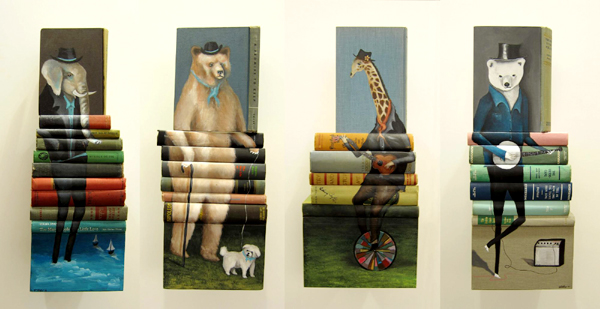 Book paintings by Mike Stilkey