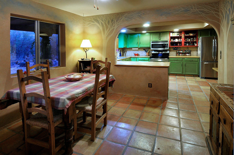Desert sycamore tree murals in the Main House kitchen