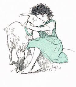 An illustration for ''Heidi'' by Jessie Willcox Smith