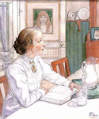 Reading at the Breakfast Table by Carl Larsson