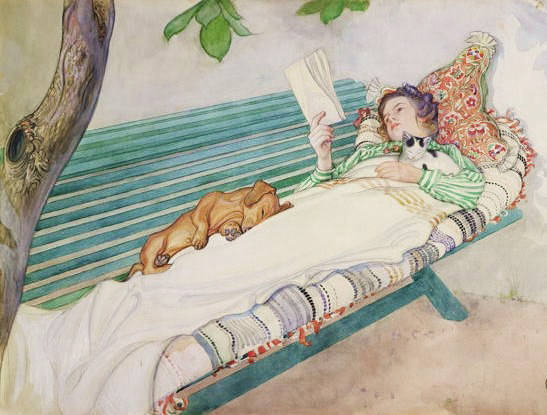 Reading on the Bench by Carl Larsson