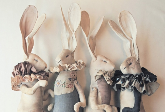 Textile Hares by Mr Finch