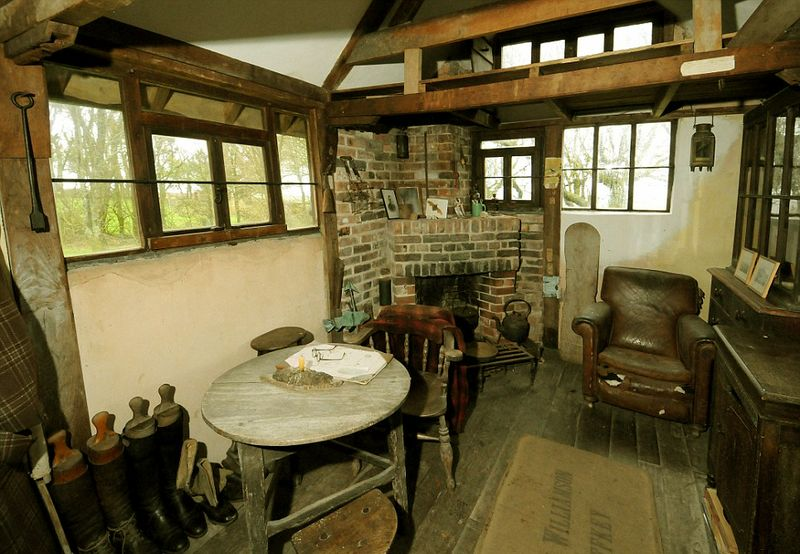 Inside Henry William Williamson's writing hut