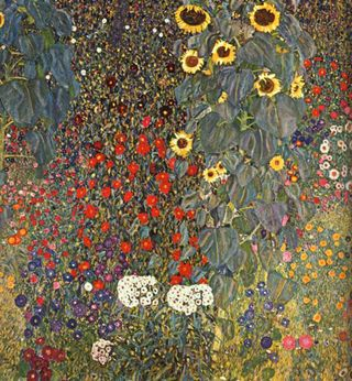 Farm Garden with Sunflowers by Gustav Klmit